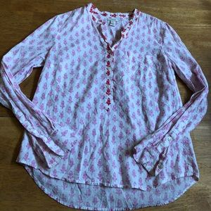 J Crew cotton blouse boho feel very good cond XS